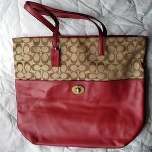 COACH SIGNATURE PRINT AND BURGUNDY LG. TOTE